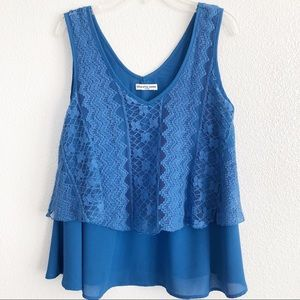 Cha Cha Vente Blue Floral Crochet Crop Top Small